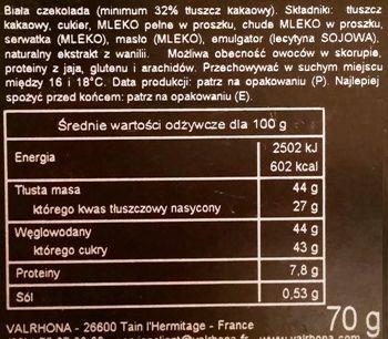 Valrhona, Dulcey Blond, biała czekolada waniliowa, skład i wartości odżywcze, copyright Olga Kublik