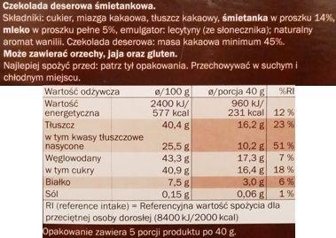 Ballarom, Czekolada deserowa śmietankowa z Lidla, skład i wartości odżywcze, copyright Olga Kublik