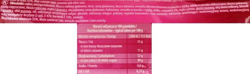 Colian, Goplana, czekolada Jeżyki, skład i wartości odżywcze, copyright Olga Kublik