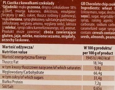 Kettner Group, Hi Alpino Ciastka z kawałkami czekolady, kruche herbatniki typu pieguski, skład i wartości odżywcze, copyright Olga Kublik