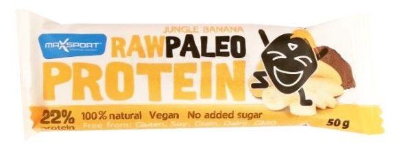 MaxSport, Raw Protein Paleo Jungle Banana, wegański surowy baton bez glutenu o smaku daktyli, bananów i kakao, baton białkowy, copyright Olga Kublik