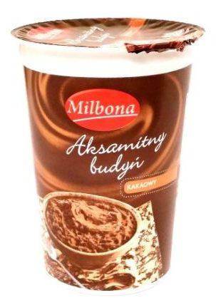 Milbona, Aksamitny budyń kakaowy, deser z Lidla na bitej śmietanie, copyright Olga Kublik