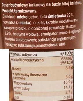 Milbona, Aksamitny budyń kakaowy, deser z Lidla na bitej śmietanie, skład i wartości odżywcze, copyright Olga Kublik