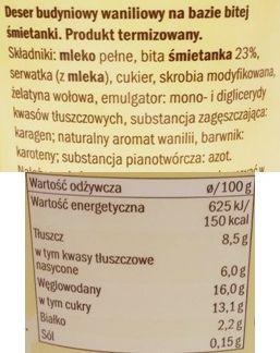 Milbona, Aksamitny budyń waniliowy, deser z Lidla na bitej śmietanie, skład i wartości odżywcze, copyright Olga Kublik