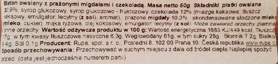 Rupa, Choco-Almonds Flapjack Ovesna Tycinka, zdrowy baton owsiany z prażonymi migdałami i czekoladą, skład i wartości odżywcze, copyright Olga Kublik