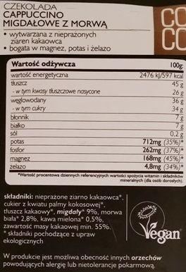 SuroVital, Cocoa cappuccino migdałowe z morwą, ciemna surowa czekolada, raw food, skład i wartości odżywcze, copyright Olga Kublik