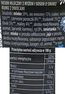 Zott, Belriso Winter poncz owocowy, ryż na mleku z nadzieniem o smaku rumu z wiśniami, czerwoną porzeczką, truskawkami, śliwkami i malinami, skład i wartości odżywcze, copyright Olga Kublik