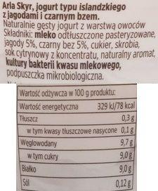 Arla, Skyr jogurt typu islandzkiego: jagoda - czarny bez, skład i wartości odżywcze, copyright Olga Kublik