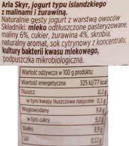 Arla, Skyr jogurt typu islandzkiego: malina - żurawina, skład i wartości odżywcze, copyright Olga Kublik