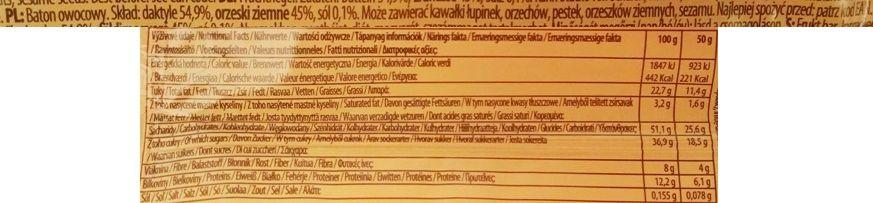 Bombus Natural Energy, Raw Energy Peanuts & Dates, surowy baton z daktylami, fistaszkami i solą, produkt bez glutenu i wegański, skład i wartości odżywcze, copyright Olga Kublik