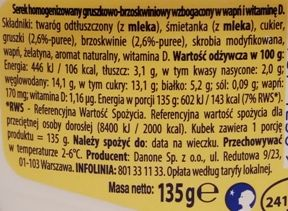 Danone, Danio, serek homogenizowany o smaku gruszki i brzoskwini, skład i wartości odżywcze, copyright Olga Kublik