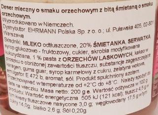 Ehrmann, Grand Dessert Double Nut, gęsty budyń o smaku orzechów laskowych z bitą śmietaną, skład i wartości odżywcze, copyright Olga Kublik