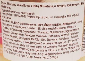 Ehrmann, Grand Dessert Raffinesse Vanille, waniliowy budyń z bitą śmietaną o smaku śmietankowym i czekoladowym, skład i wartości odżywcze, copyright Olga Kublik