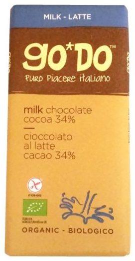 GO*DO, Organic milk chocolate cocoa 34%, organiczna mleczna czekolada z Włoch, produkt bez glutenu, copyright Olga Kublik