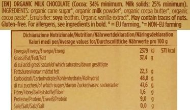 GO*DO, Organic milk chocolate cocoa 34%, organiczna mleczna czekolada z Włoch, produkt bez glutenu, skład i wartości odżywcze, copyright Olga Kublik