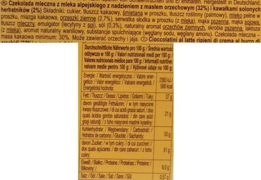 Ludwig Schokolade, Schogetten Peanut Butter, mleczna czekolada z masłem orzechowym i solonymi krakersami, skład i wartości odżywcze, copyright Olga Kublik