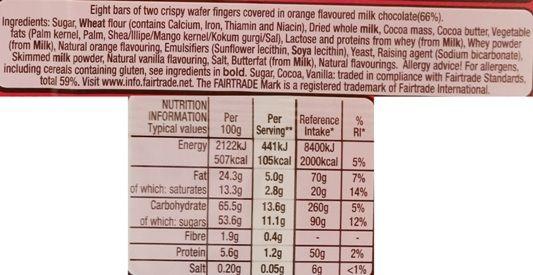 Nestle, Kit Kat Orange, wafelki z kremem kakaowym w mlecznej czekoladzie o smaku pomarańczy, skład i wartości odżywcze, copyright Olga Kublik