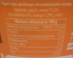 Piątnica, Jogurt typu greckiego 2,5% tłuszczu z brzoskwiniami i mango, skład i wartości odżywcze, copyright Olga Kublik