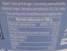 Piątnica, Jogurt typu greckiego z borówką amerykańską, skład i wartości odżywcze, copyright Olga Kublik