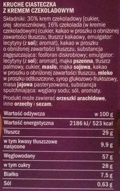 Tastino, Carlo Creme z kremem czekoladowym, ciastka z gęstym kremem z Lidla, skład i wartości odżywcze, copyright Olga Kublik