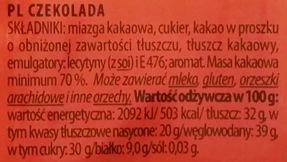 Terravita, 70% cocoa czekolada gorzka, skład i wartości odżywcze, copyright Olga Kublik