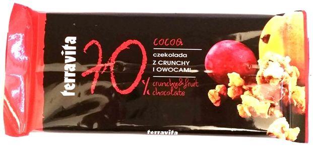 Terravita, 70% cocoa czekolada gorzka z crunchy i owocami, copyright Olga Kublik