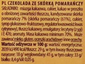 Terravita, 70% cocoa czekolada gorzka ze skórką pomarańczową, skład i wartości odżywcze, copyright Olga Kublik