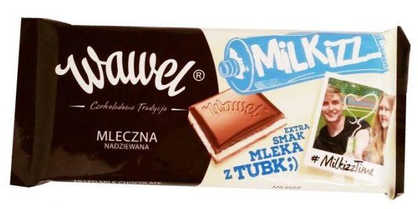 Wawel, Milkizz (100 g), mleczna czekolada z nadzieniem z mleka skondensowanego, copyright Olga Kublik