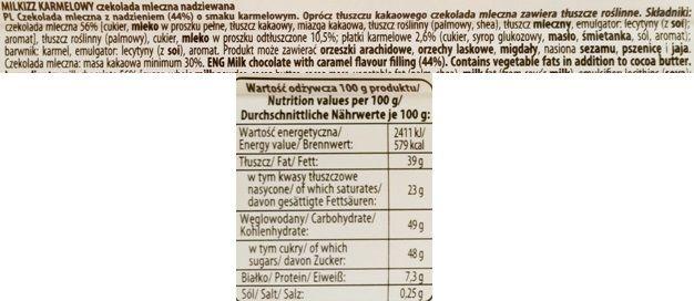 Wawel, Milkizz Karmelowy, mleczna czekolada z nadzieniem o smaku karmelowego mleka skondensowanego, skład i wartości odżywcze, copyright Olga Kublik
