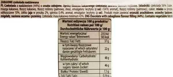 Wawel, Zabajone, ciemna czekolada z nadzieniem, skład i wartości odżywcze, copyright Olga Kublik