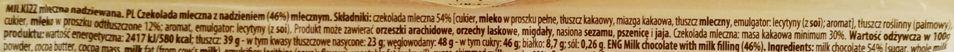 Wawel, baton Milkizz, mleczna czekolada z nadzieniem o smaku mleka skondensowanego, skład i wartości odżywcze, copyright Olga Kublik