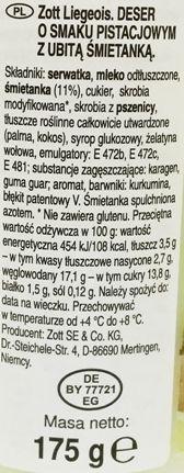 Zott, Liegeois so vkusom fistaszek, Deser z koroną o smaku pistacji, skład i wartości odżwycze, copyright Olga Kublik