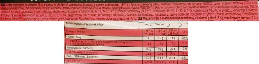 Algida, Magnum Double Raspberry, lody na patyku malinowe z sosem malinowym, polewą kakaową i mleczną czekoladą, skład i wartości odżywcze, copyright Olga Kublik