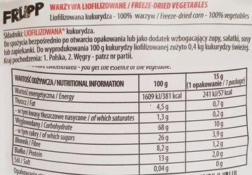 Celiko, Frupp liofilizowana kukurydza, zdrowa wegańska przekąska, skład i wartości odżywcze, copyright Olga Kublik