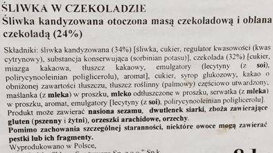 Czekolateria, Śliwka w czekoladzie z nadzieniem czekoladowym, Lidl, skład i wartości odżywcze, copyright Olga Kublik