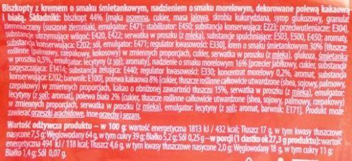 Dr Gerard, Biszkopty morelowo-śmietankowe z polewą dwukolorową, kremem i dżemem, skład i wartości odżywcze, copyright Olga Kublik