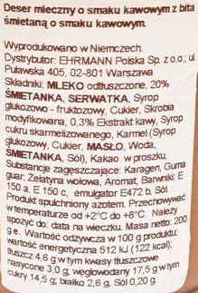 Ehrmann, Grand Dessert Double Coffee, gęsty budyniowy deser o smaku kawy z bitą śmietaną, skład i wartości odżywcze, copyright Olga Kublik