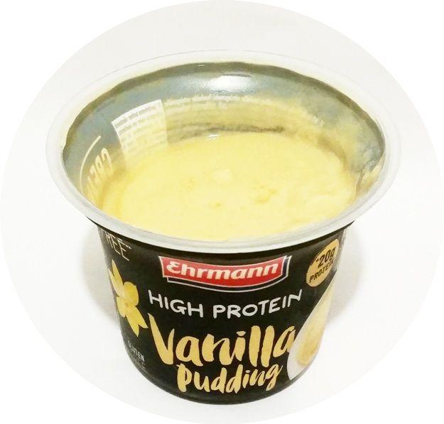 Ehrmann, High Protein Vanilla Pudding, białkowy deser typu light bez glutenu i laktozy o smaku waniliowym, copyright Olga Kublik