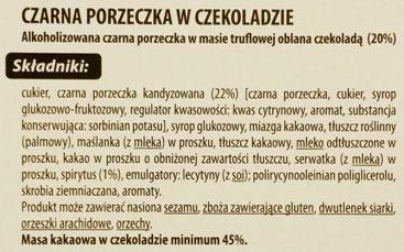 Jutrzenka Dobre Miasto, Luximo Premium Czarna porzeczka z truflą w czekoladzie, skład i wartości odżywcze, copyright Olga Kublik