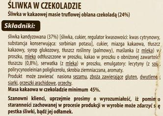 Jutrzenka Dobre Miasto, Luximo Premium Śliwka z truflą w czekoladzie, skład i wartości odżywcze, copyright Olga Kublik