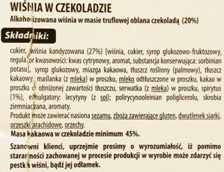 Jutrzenka Dobre Miasto, Luximo Premium Wiśnia z truflą w czekoladzie, skład i wartości odżywcze, copyright Olga Kublik