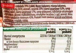Unitop-Optima, Magnetic Sezamkowy ciemny, baton z sezamem w czekoladzie deserowej, skład i wartości odżywcze, copyright Olga Kublik