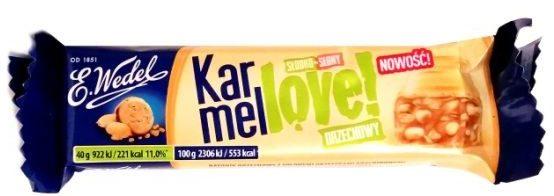 Wedel, Karmellove baton orzechowy z białą czekoladą karmelową, mlecznym nadzieniem, słonymi orzechami i chrupkami, copyright Olga Kublik