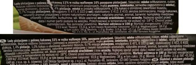 Ballino, rożek lodowy o smaku pistacjowym Corner pistacjowy i Pistachio, lody z Lidla, skład i wartości odżywcze, copyright Olga Kublik