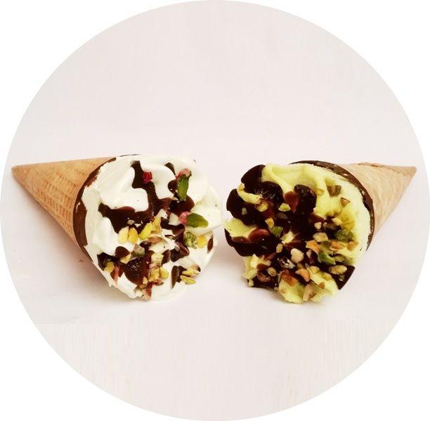 Ballino, rożek lodowy o smaku pistacjowym Corner pistacjowy i Pistachio, lody z Lidla, copyright Olga Kublik