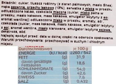 Ferrero, Hanuta, wafel z kremem czekoladowym i orzechami laskowymi, skład i wartości odżywcze, copyright Olga Kublik