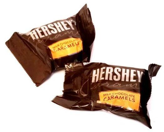 Hershey's, Milk Chocolate Caramels, czekoladki z mlecznej czekolady z gęstym karmelem, copyright Olga Kublik