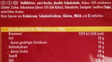Ritter Sport, Halbbitter, czekolada deserowa 50% kakao, skład i wartości odżywcze, copyright Olga Kublik