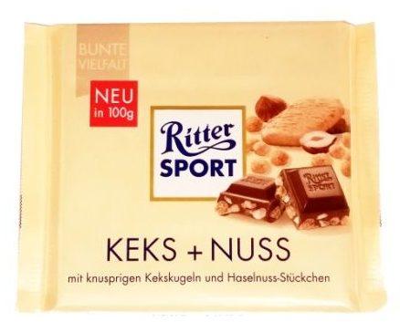 Ritter Sport, Keks + Nuss, mleczna czekolada z orzechami i ciasteczkami, copyright Olga Kublik