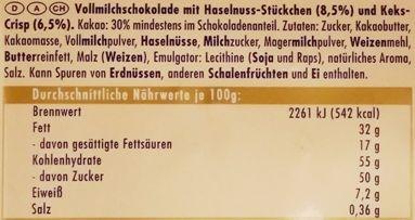 Ritter Sport, Keks + Nuss, mleczna czekolada z orzechami i ciasteczkami, skład i wartości odżywcze, copyright Olga Kublik